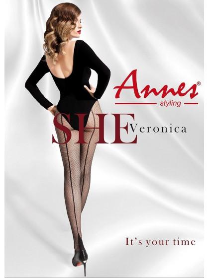 Annes Veronica женские сетчатые колготки со швом сзади