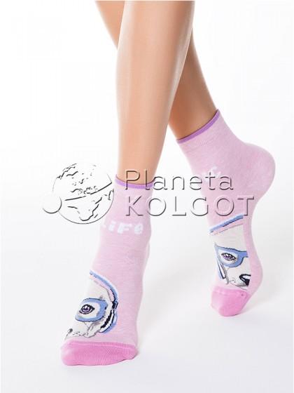 """Conte Elegant Happy 17С-21СП 099 женские классические носочки из хлопка с принтом """"собачка"""""""