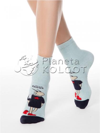 """Conte Elegant Happy 17С-44СП 293 носочки для женщин из хлопка с принтом """"козочка"""""""