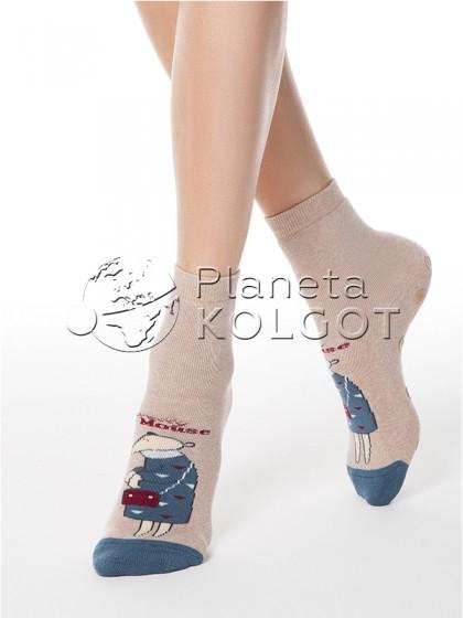 """Conte Elegant Happy 17С-44СП 295 женские высокие носочки с антискользящей подошвой с принтом """"мышка"""""""
