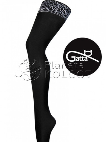Gatta Gigi 07 женские классические чулки с принтом на резинке