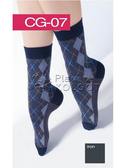 Giulia CG-07 хлопковые высокие носки с принтом
