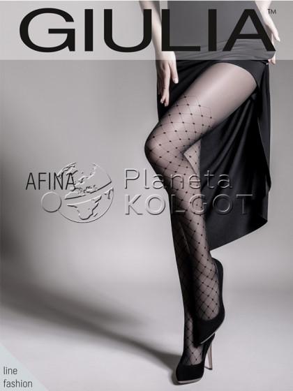 """Giulia Afina 40 Den Model 1 фантазийные колготки с имитацией чулок-ботфорт и узором """"в точку"""""""