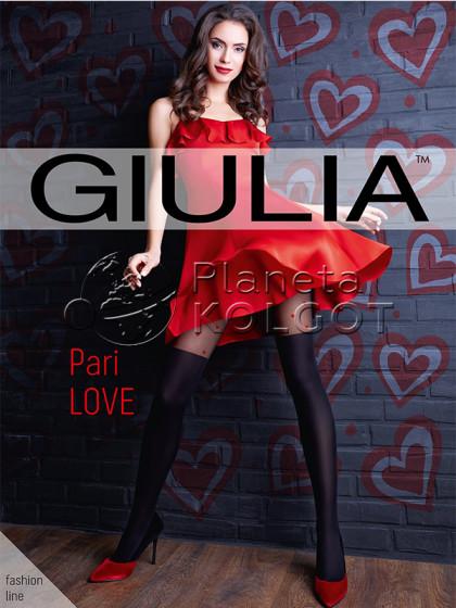 """Giulia Pari Love 60 Den женские фантазийные колготки с имитацией чулок и рисунком """"сердечки"""""""