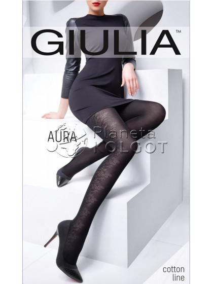 Giulia Aura 120 Den Model 2 хлопковые колготки с боковым цветочным узором