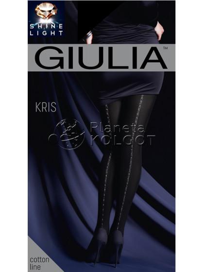 Giulia Kris 150 Den Model 2 женские фантазийные колготки с имитацией шва сзади с добавлением люрекса