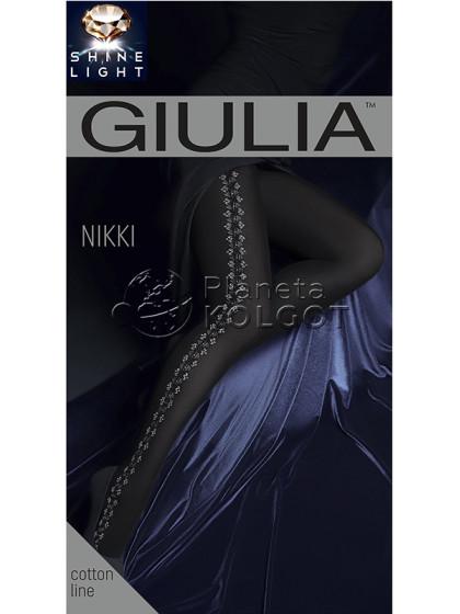 Giulia Nikki 150 Den Model 2 женские фантазийные теплые колготки с боковым рисунком