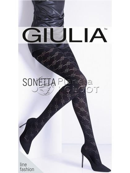 Giulia Sonetta 100 Den Model 16 фантазийные теплые женские колготки из микрофибры с оригинальным узором