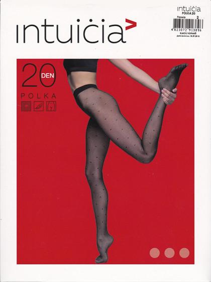 """Intuicia Polka 20 Den женские тонкие колготки с фантазийным рисунком """"в точку"""" и с микротюлем (на сетчатой основе)"""