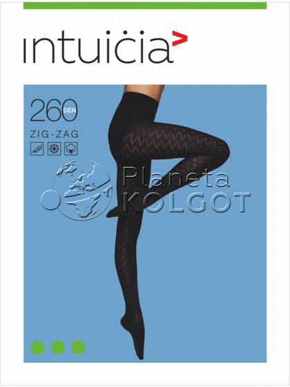 Intuicia Zig-Zag 260 Den фантазийные хлопковые колготки с рисунком