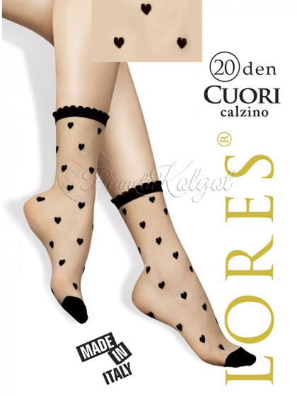 Lores Cuori Calzino женские капроновые носочки с узором