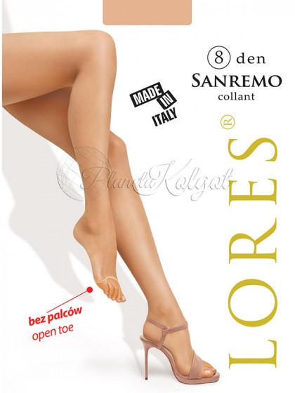 Lores Sanremo 8 Den Collant женские тончайшие классические колготки с открытыми пальцами