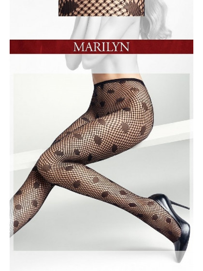 """Marilyn Charly K12 фантазийные сетчатые колготки для женщин с узором """"в точку"""""""