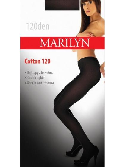 Marilyn Cotton 120 Den зимние классические теплые хлопковые колготки без рисунка
