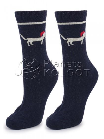 """Marilyn Angora No Terry N31 классические женские теплые носки с принтом """"собака"""""""