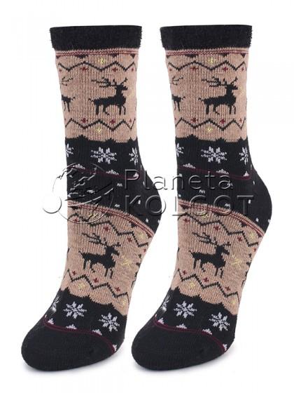 Marilyn Angora No Terry N32 зимние теплые женские носочки с добавлением шерсти с рисунком