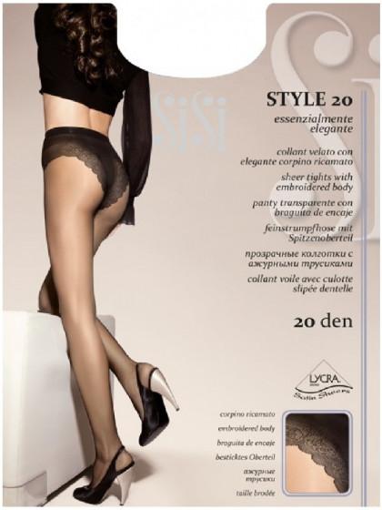 Sisi Style 20 Den тонкие колготки с ажурными трусиками-бикини