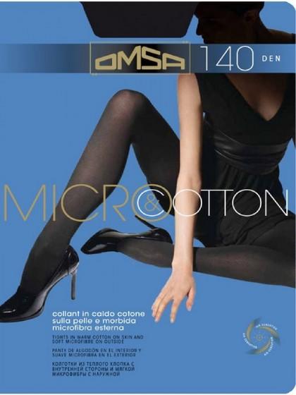 Omsa Micro&Cotton 140 Den теплые двухслойные колготки из хлопка и микрофибры